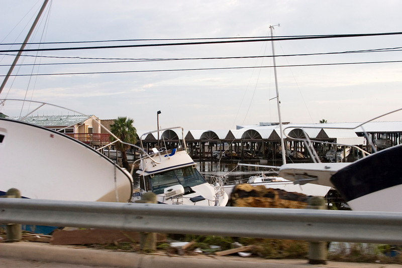 September 14:  Boats piled up at the edge of Clear Lake along NASA Parkway.