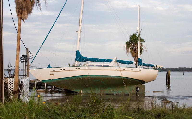 September 14:  50' Sailboat washed ashore on Clear Lake, near the Hilton Hotel on NASA Parkway.
