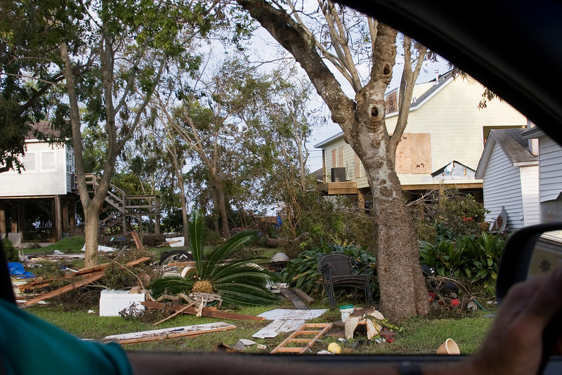 September 14:  Some of our neighbors were not nearly as lucky was we were.  This is from Meadow Parkway in League City, about 2 blocks from our house.