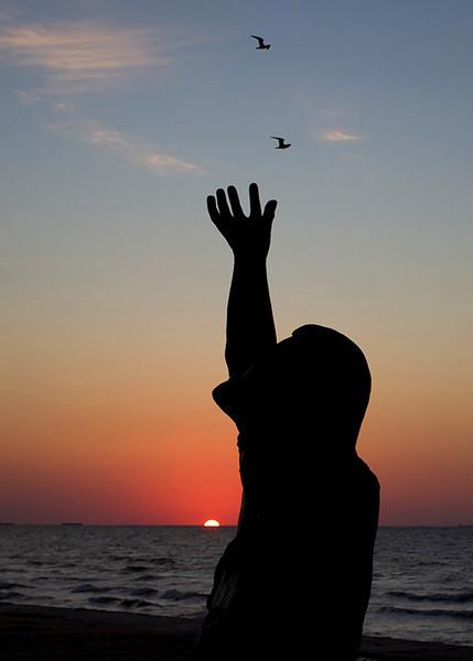 Sunrise at Galveston seawall, 3 weeks after Ike