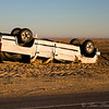 Over turned truck near High Island