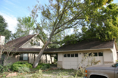Front Side of the same garage.  If it had more distance to fall, it could have easily crushed a portion of the roof.  Mom and dad's house. ... Our first look after getting back from Junction, TX (evacuation).