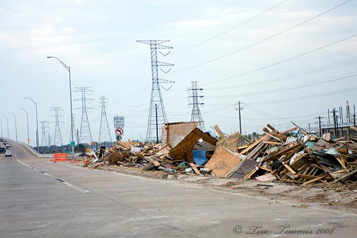 Debris along 146 north of Kemah Bridge