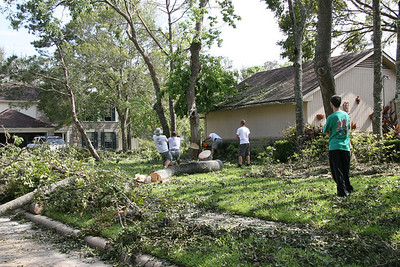 Clearing out 3 fallen trees by the garage.