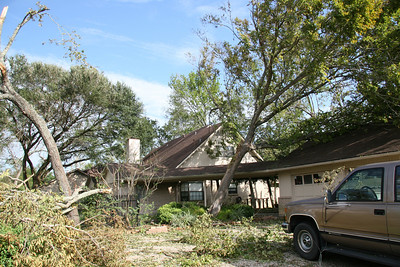 Mom and dad's house.  ... Our first look after getting back from Junction, TX (evacuation).