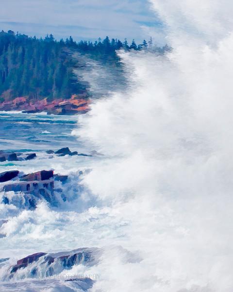 Ocean Spray.. Waves crashing against the shoreline rocks sends foam and spray back towards the open sea.