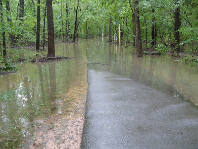 The lake and the stream come together at this point. From here on the path is completely under water.  9-7-11