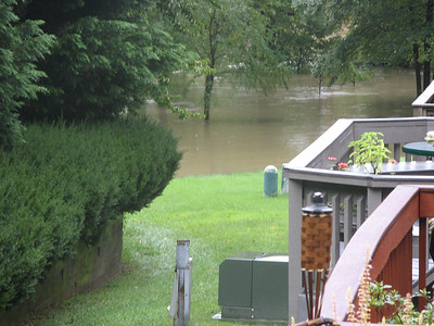 This was taken from my deck. The north end of Lake Kittamaqundi is waaay out of its banks.  9-7-11