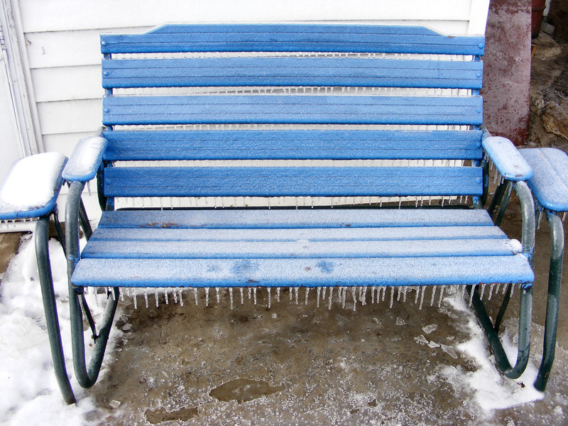 "This is NOT the ""Hot Seat""<br /> If you sat on it now, you would be sitting on ¼"" of ice, besides the icicles hanging off it."