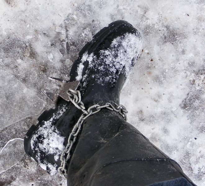 The only way to get around on ice<br /> I got tired of slipping around a few years ago and made these which sure helps me to stay on my feet.