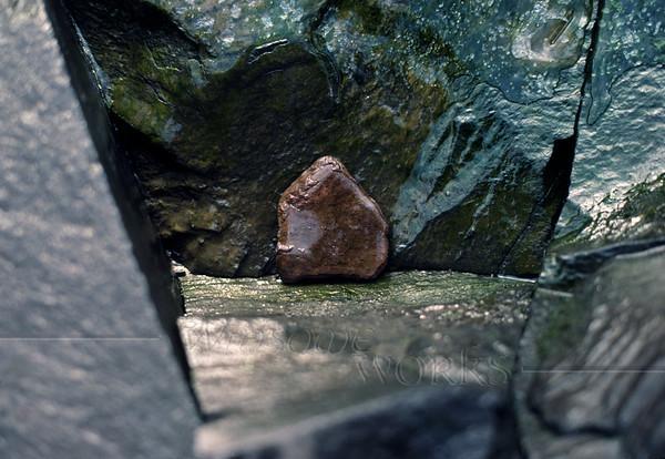 #2 of Pentagonal Rock Series - Icy rock ledge; close view (Sellersville, PA)