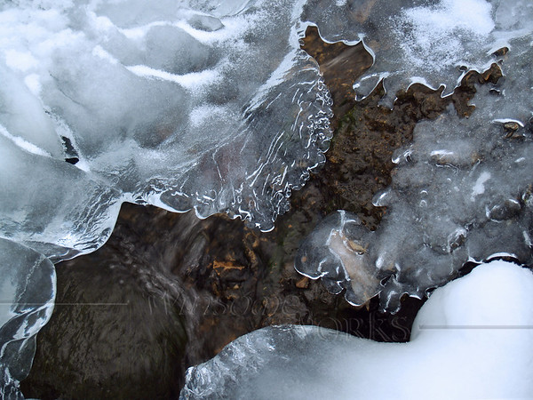 Lacey Ice, Gurgling Water and Boulder in Creek, Canadensis PA (Spruce Lake Retreat)