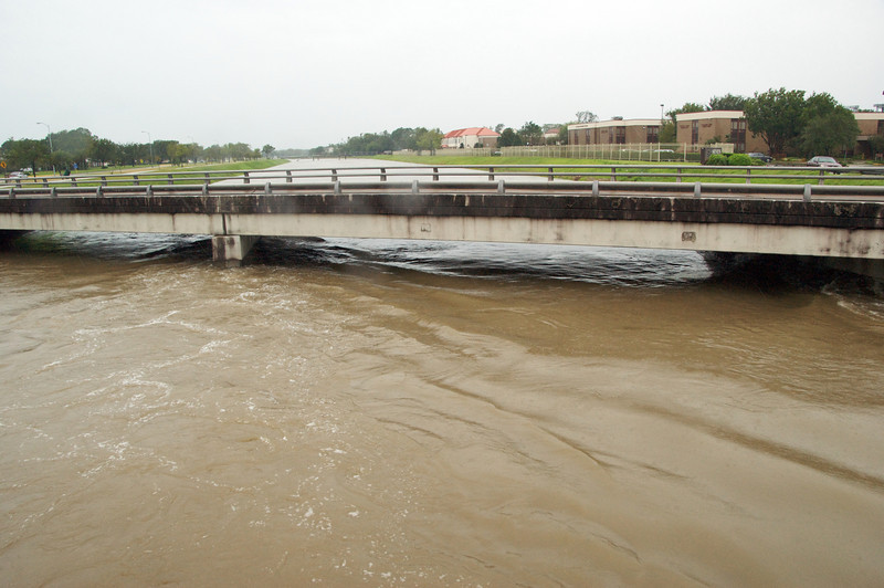 Brays Bayou was very full but did not leave its banks