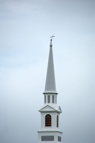 Cross on the steeple at Baptist Church near our house
