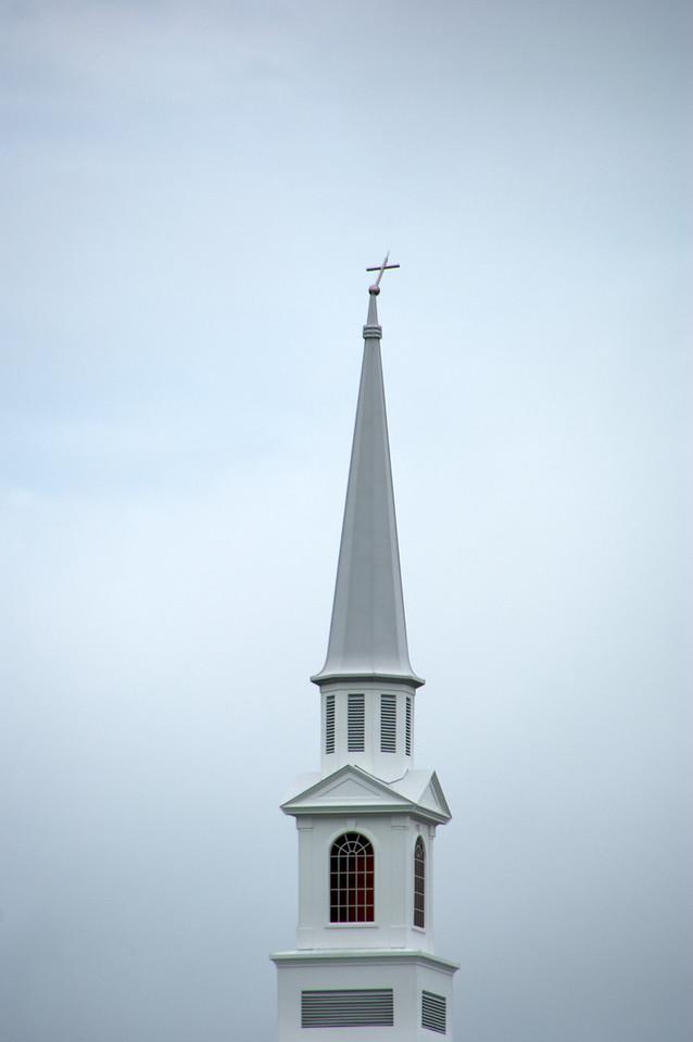 Cross on the steeple at Baptist Church near our house