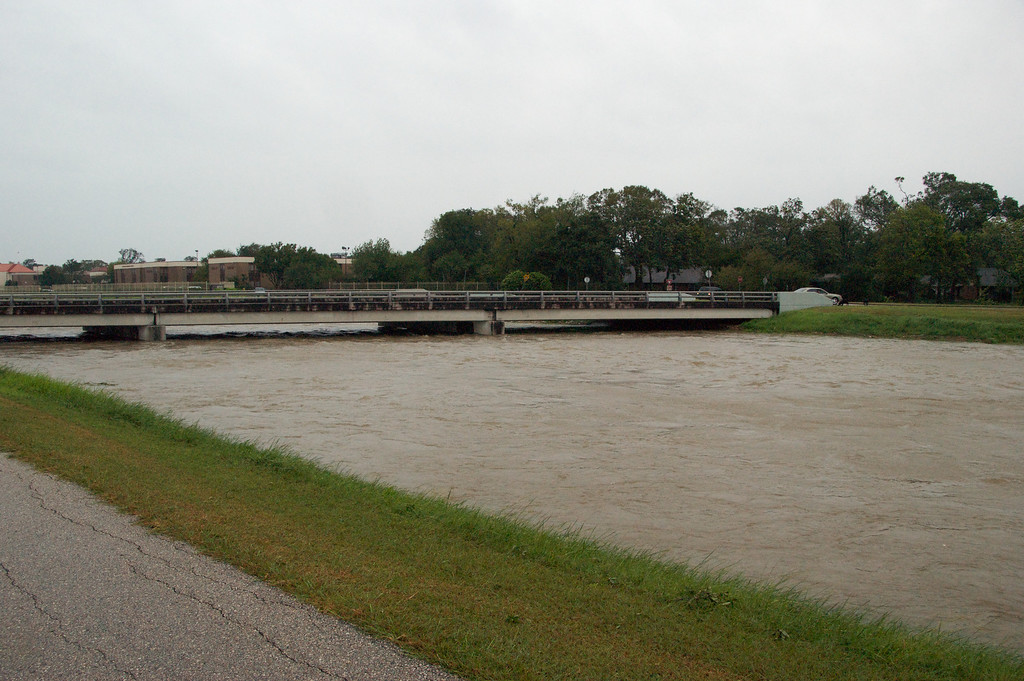 Brays Bayou bridge after the storm