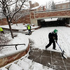 "The City of Boulder Ready to Work crew clears snow from the Hill area on Wednesday.<br /> For  more photos and a video of the snow, got to  <a href=""http://www.dailycamera.com"">http://www.dailycamera.com</a>.<br /> January 11, 2012 / Cliff Grassmick"