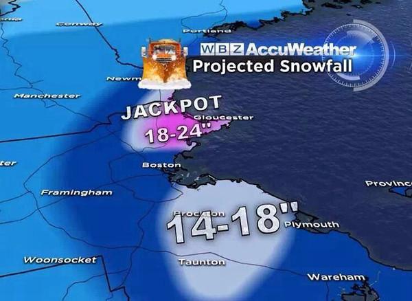 The forecast at 6:30pm Thursday.