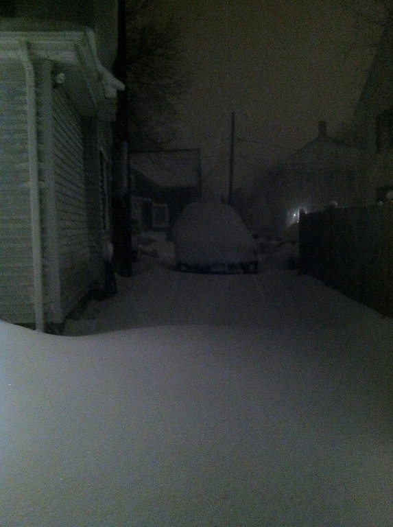 Thursday night. The wind made it hard to judge the accumulation but I think we got about a foot as of 9:00pm.
