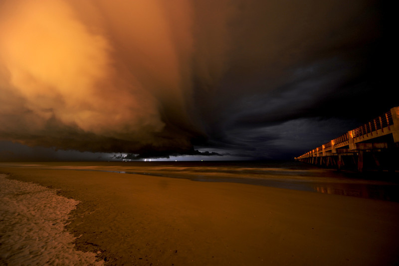 An amazing storm off the coast of Jacksonville Beach, Florida.