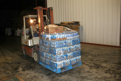 just one of the 5 pallets of water