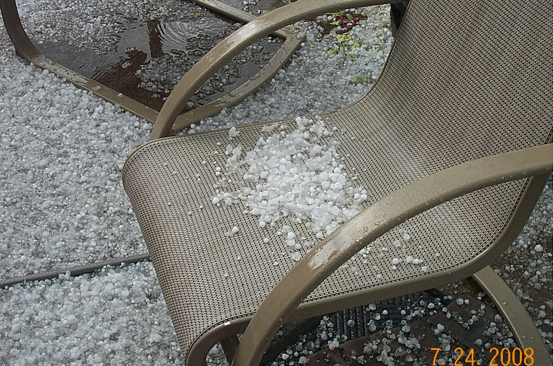 There isn't much hail in the chairs because it would hit the chair and then bounce back up about 10 feet in the air!