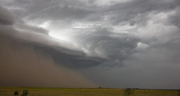Outflowing dust cloud bearing down on I-70 between Flagler & Seibert, CO. Within 6-1/2 minutes, the interstate was completely engulfed by the ominous cloud. Fortunately, no accidents were reported!