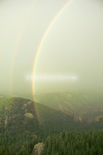 Rainbow as seen from Harney Peak tower after storm. <br /> ©Paul Horsted, All Rights Reserved.