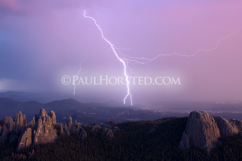 Lightning as seen from Harney Peak tower during storm Aug. 25, 2005. ©Paul Horsted, All Rights Reserved.