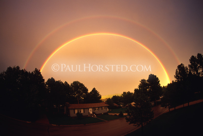 A double rainbow after an evening thunderstorm, in Custer, S.D.