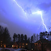 Winter storms can light up the night too!  Lightning strike in captured at 10 PM  on 2/18/2009 in Lawrenceville GA ... ( ....didn't look that close in the viewfinder..)