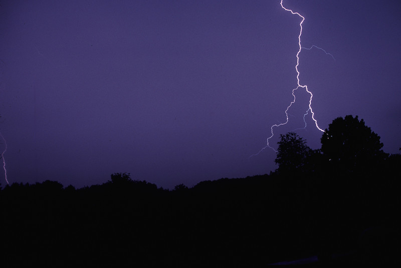 Lightning bolt behind my Grandmother's house near Albion PA. Aug 2000