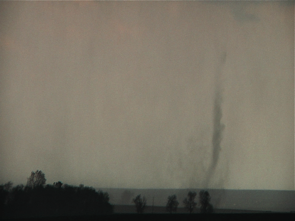 One of the few highly visible suction vortices that danced around the base of the still immature but impending wedge tornado as we paralleled the rotation now just a half mile to our south. It was amazing being close enough to see the delicate structures!! Notice the height of the vortex compared to the trees!