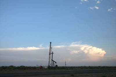 Supercell & oil well landscape, southwest of Midland, TX (8pm)