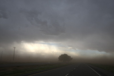 Driving though huge dust plumes getting sucked into severe storm near Lamesa.