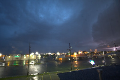 View of oncoming severe storm with CG from my hotel room in Amarillo, looking south (6:45am)