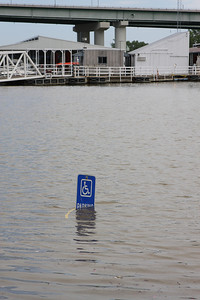 Water covers the parking at the Mud Island marina. May 3rd, 2011