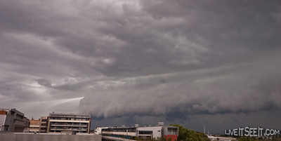 The front coming from the South West, over the Airport and Botany Bay. Lightning followed shortly after