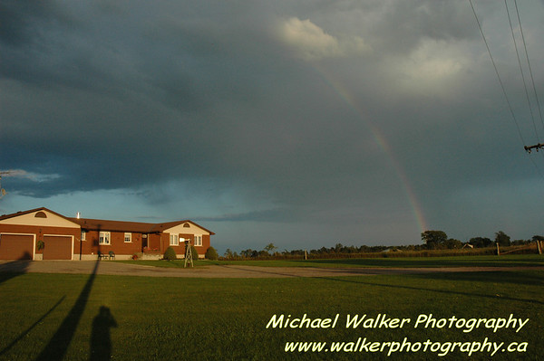 From north of Regina, SA.  during sunset.  Small storm cell.