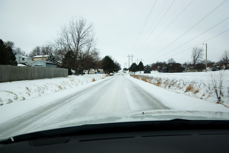 "<font size=""3"">A usually high traffic road was still packed with ice a few hours after the snow ended.</font>"