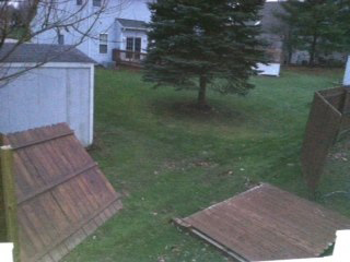 The wind destroyed this fence on Steinbeck Court in North Ridgeville. COURTESY