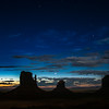 The Mittens just before sunrise. Monument Valley