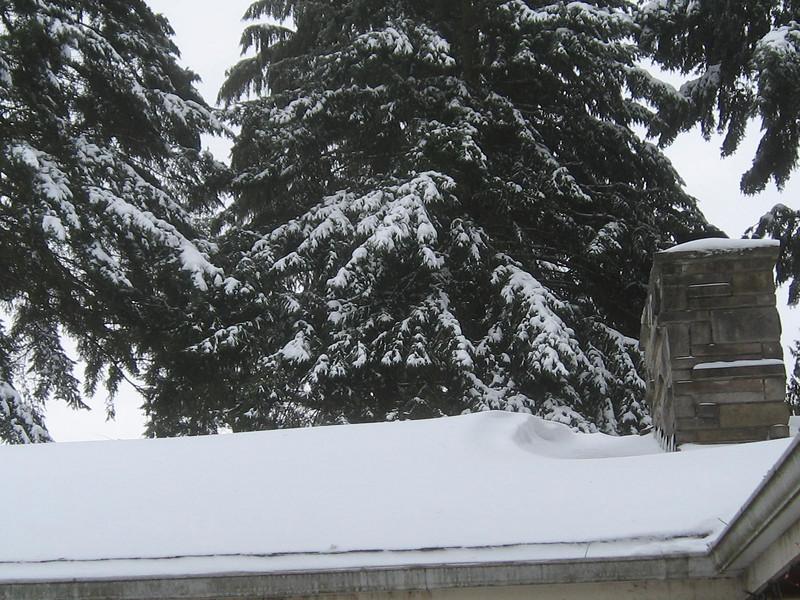 A little snow drift on the roof.