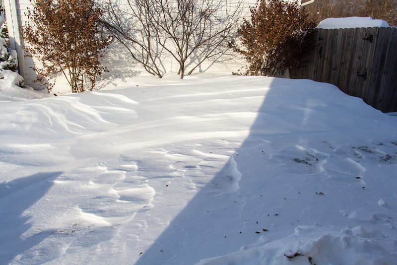 A drift next to the neighbor's garage/house after the blizzard.