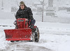 Robert Rupert uses his Wheel Horse tractor with a plow to clear snow from the sidewalks along N. York St. in Pottstown.<br /> Photo by Kevin Hoffman, The Mercury