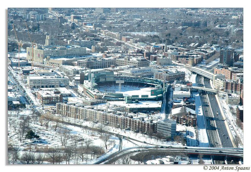 Fenway park in the snow.