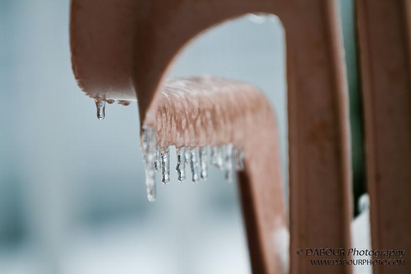 Freezing rain on patio chair
