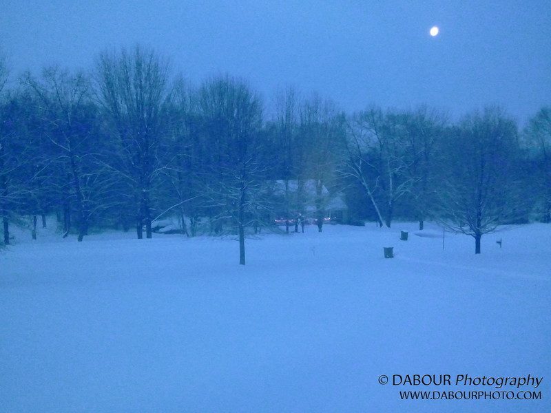 A very early morning shot of the snow. Yes that is the moon setting in the west.