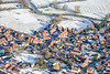 Long Bennington from the air in snow.