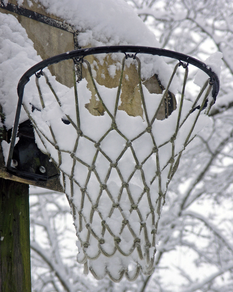 Feb 12.  This picture was made at 8:12.  I wanted the basketball net full of snow before it melted.